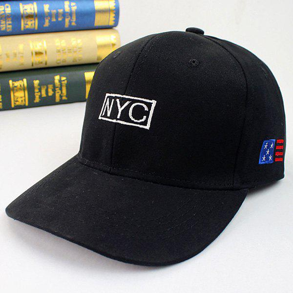 Summer Sunscreen Flag and Letter Embroidery Baseball Hat - BLACK
