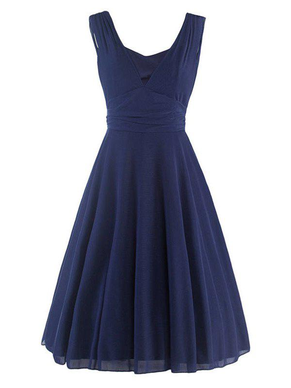 Plunging Neck High-Waisted Ruched Dress - PURPLISH BLUE 2XL