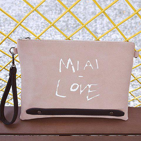 PU Leather Zipper Letter Print Clutch Bag - PINK
