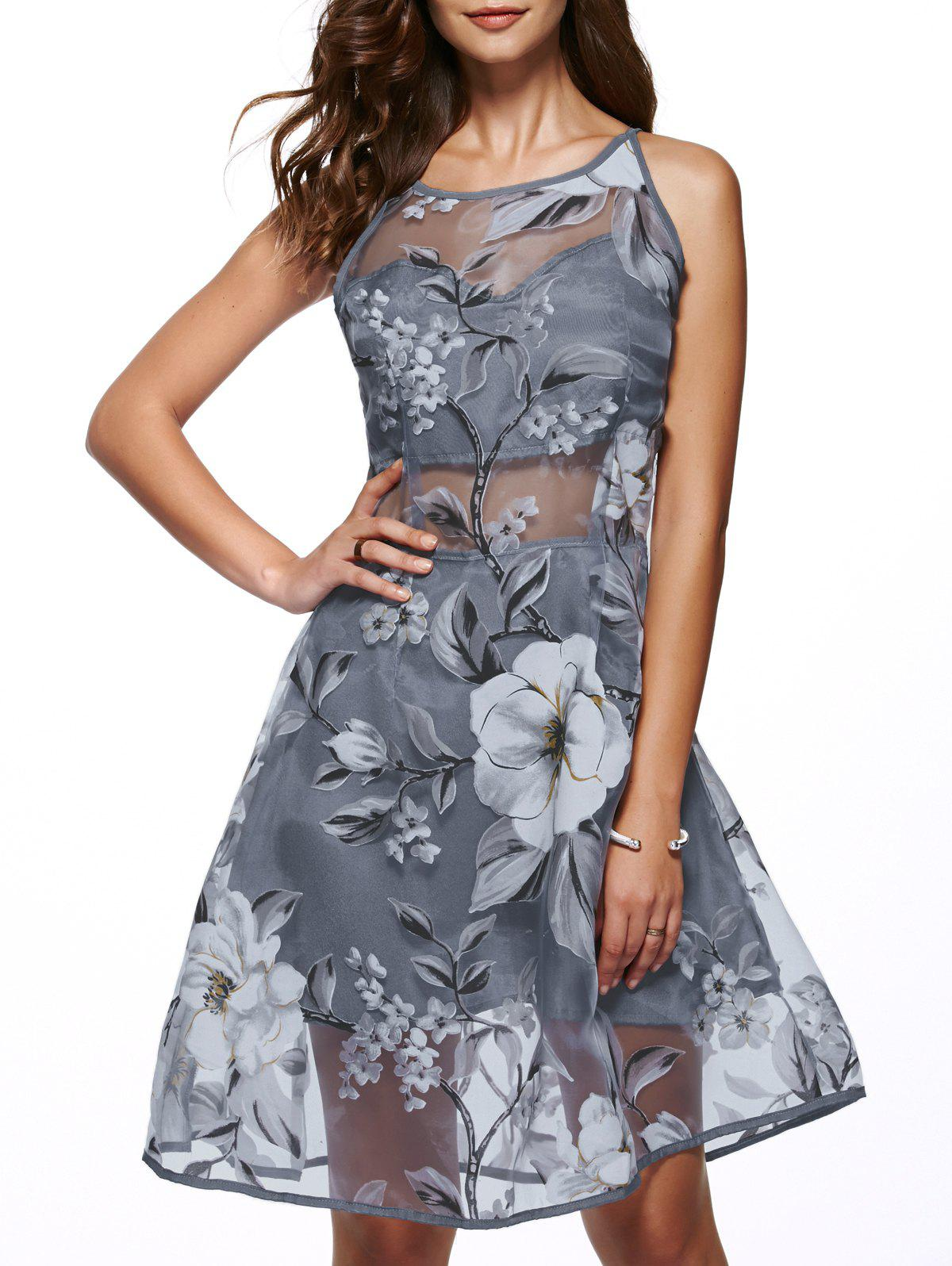 Round Neck Sleeveless Spliced Flower Print Dress