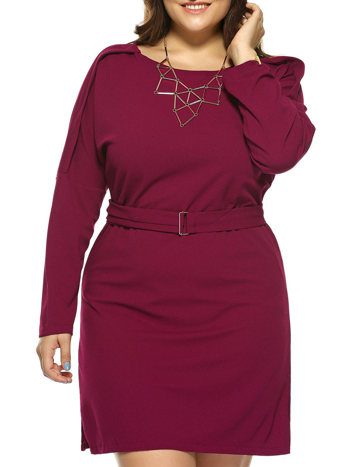 Plus Size Jewel Neck Long Sleeve Dress - WINE RED XL