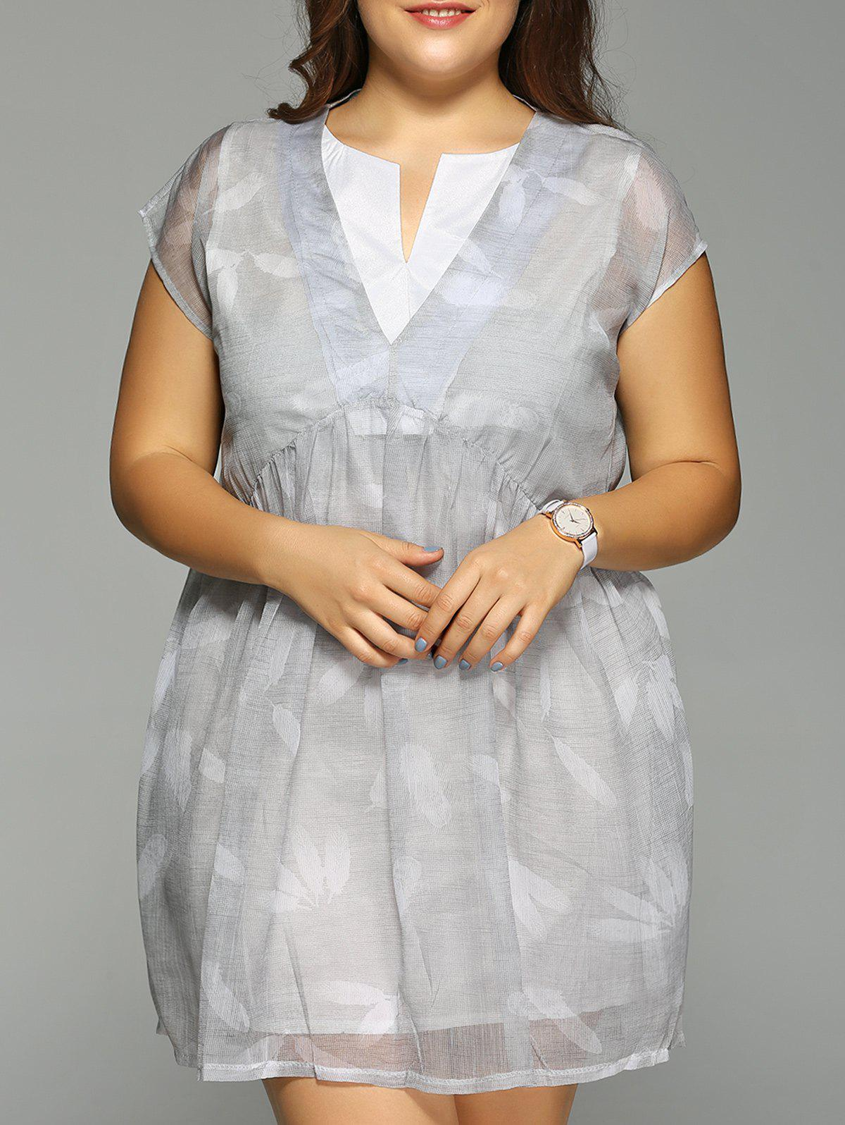 Plus Size Feather Print Cap Sleeve Fake Dress - GRAY 4XL