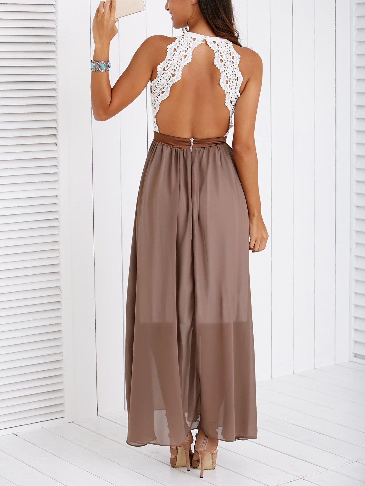 Fashionable Lace Spliced Backless Maxi Dress - KHAKI XL