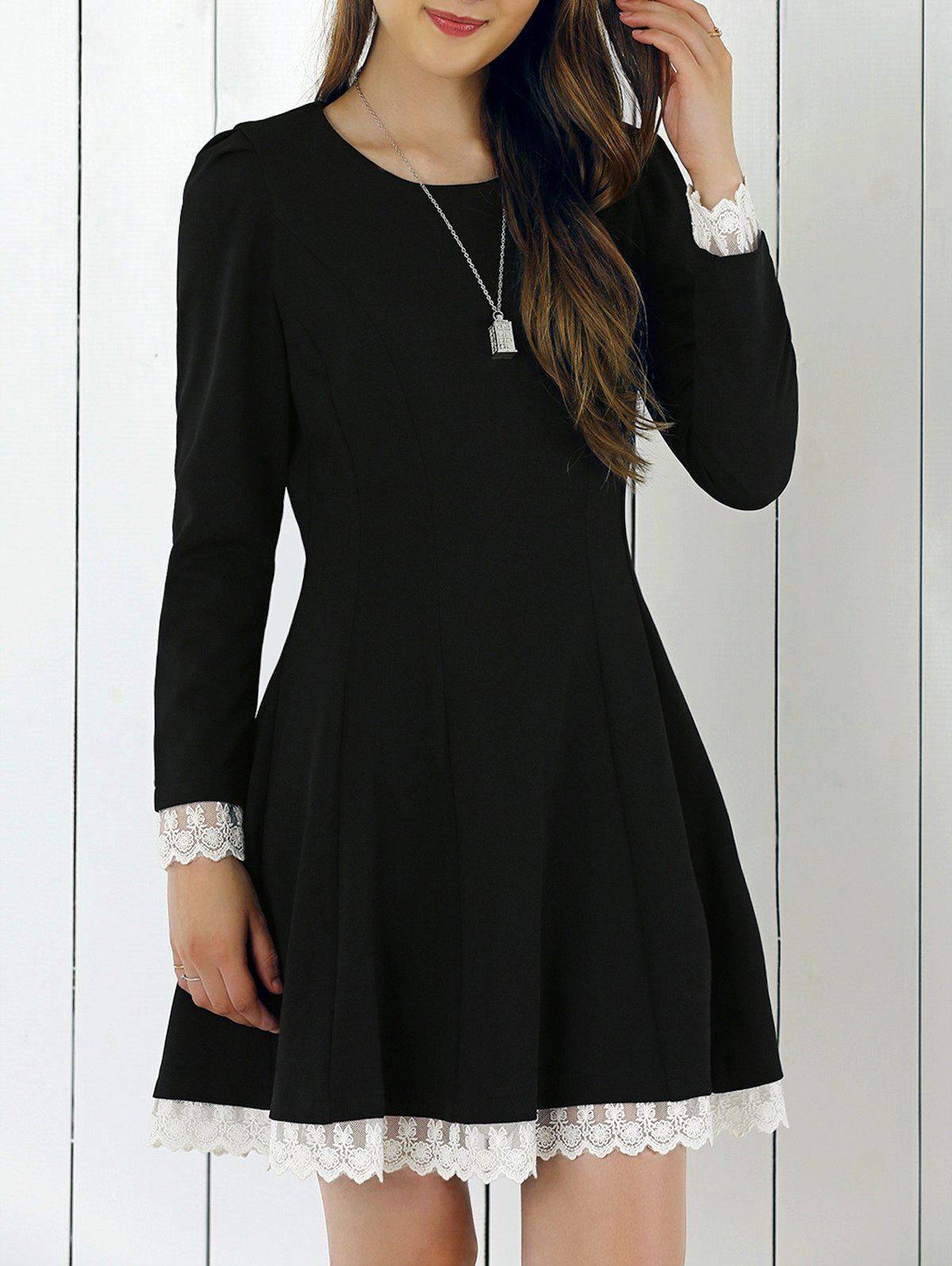 Lace Patchwork Fit and Flare Dress - BLACK XL