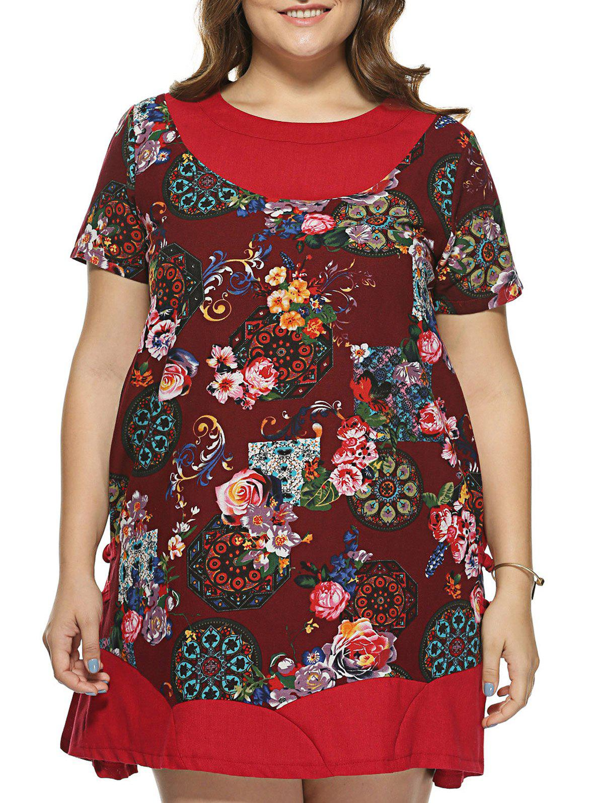 Plus Size Ethnic Style Short Sleeve Dress - RED 2XL