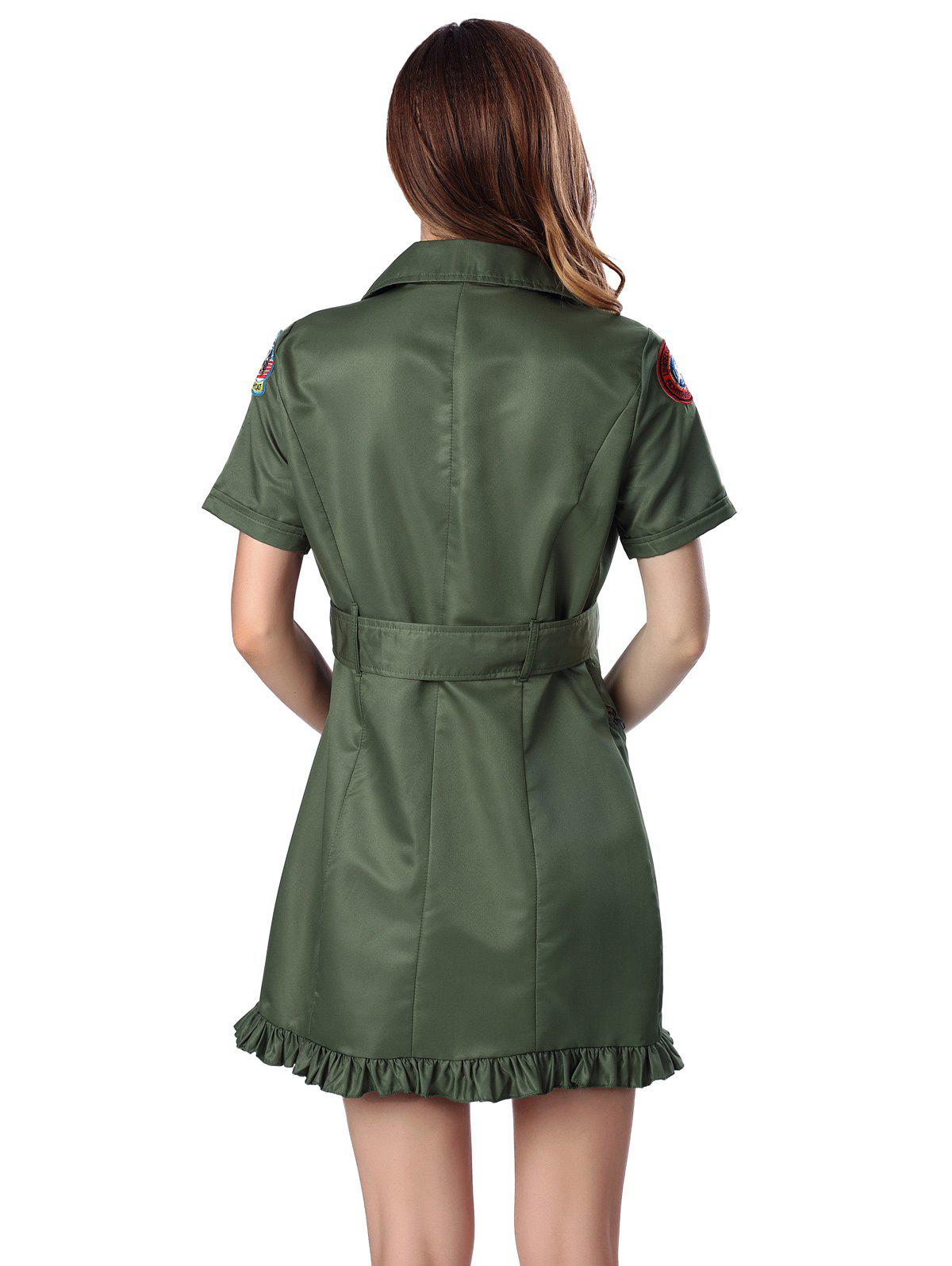 Zipped Applique Flounce Dress - ARMY GREEN XL