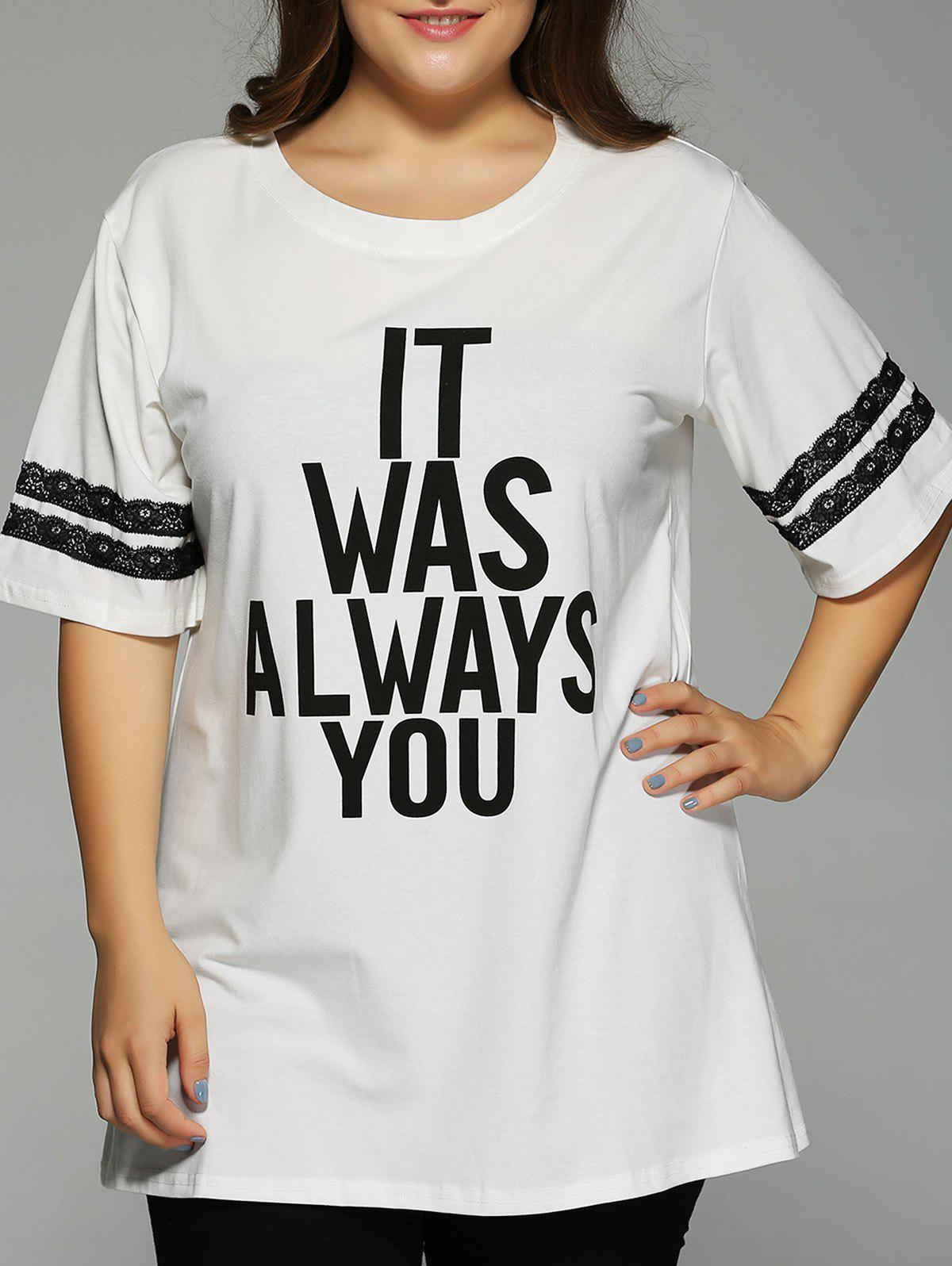 Plus Size 1/2 Sleeve Letter T-Shirt - WHITE 5XL