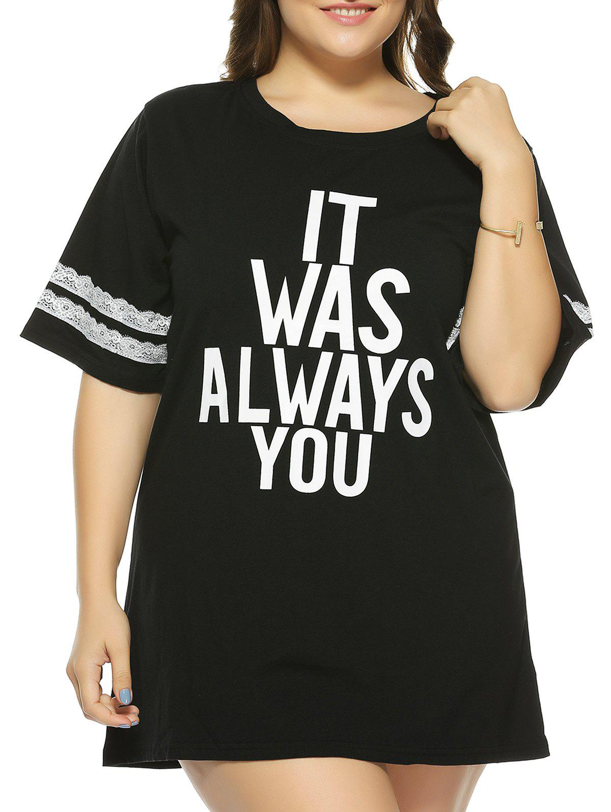 Plus Size 1/2 Sleeve Letter T-Shirt - BLACK XL