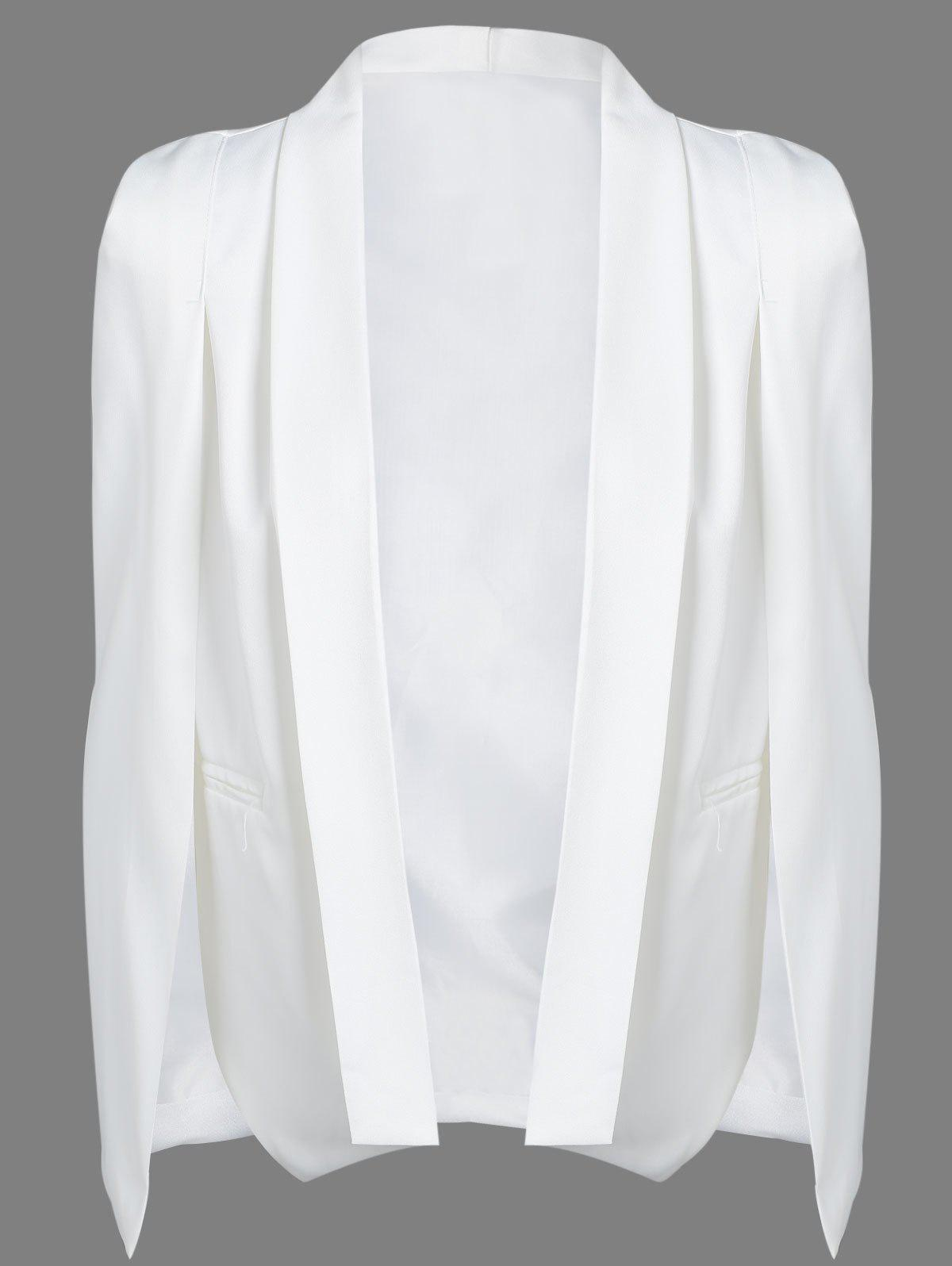 Slit Shawl Collar Cape Blazer - Blanc M