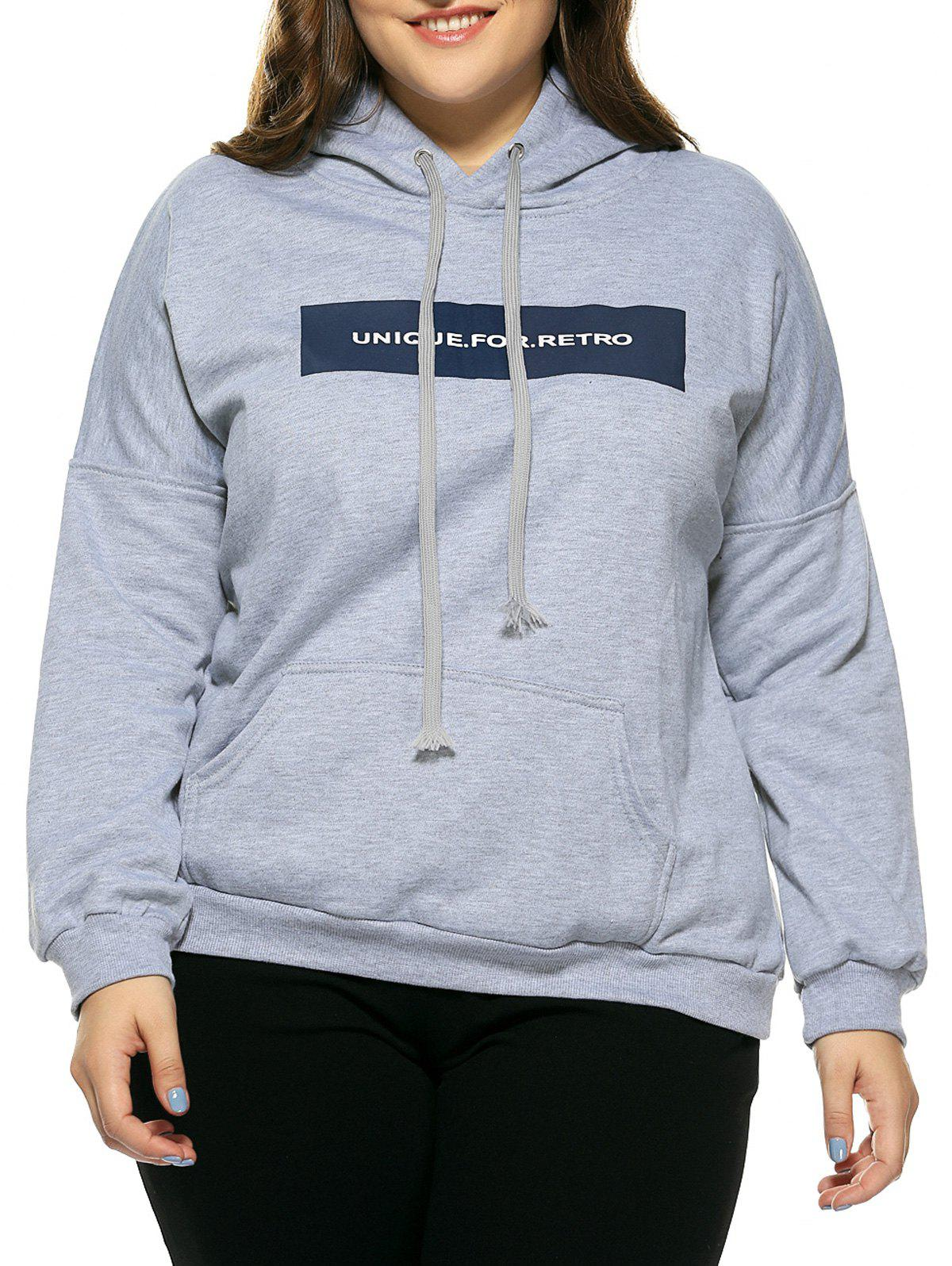 Plus Size Hooded Long Sleeve Letter Hoodie - GRAY 3XL