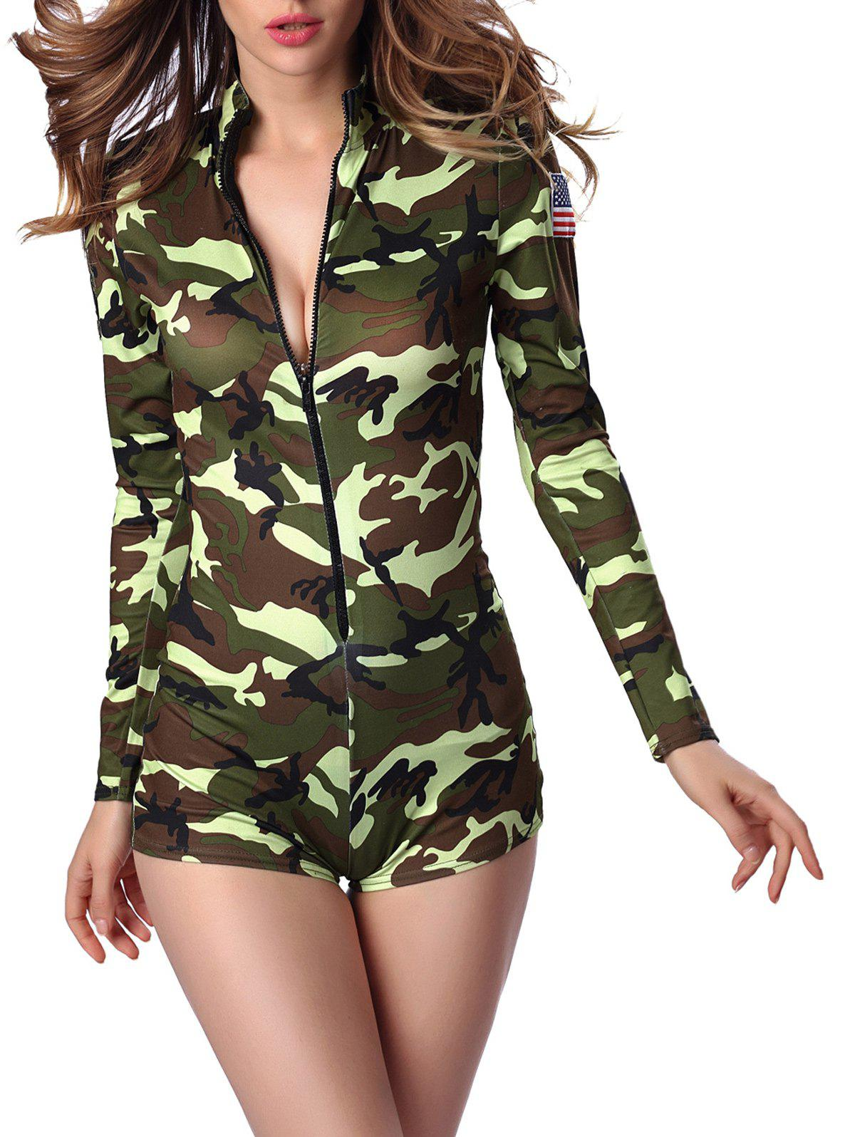 Letter Cap and Camo Printed Zipped Romper - GREEN M