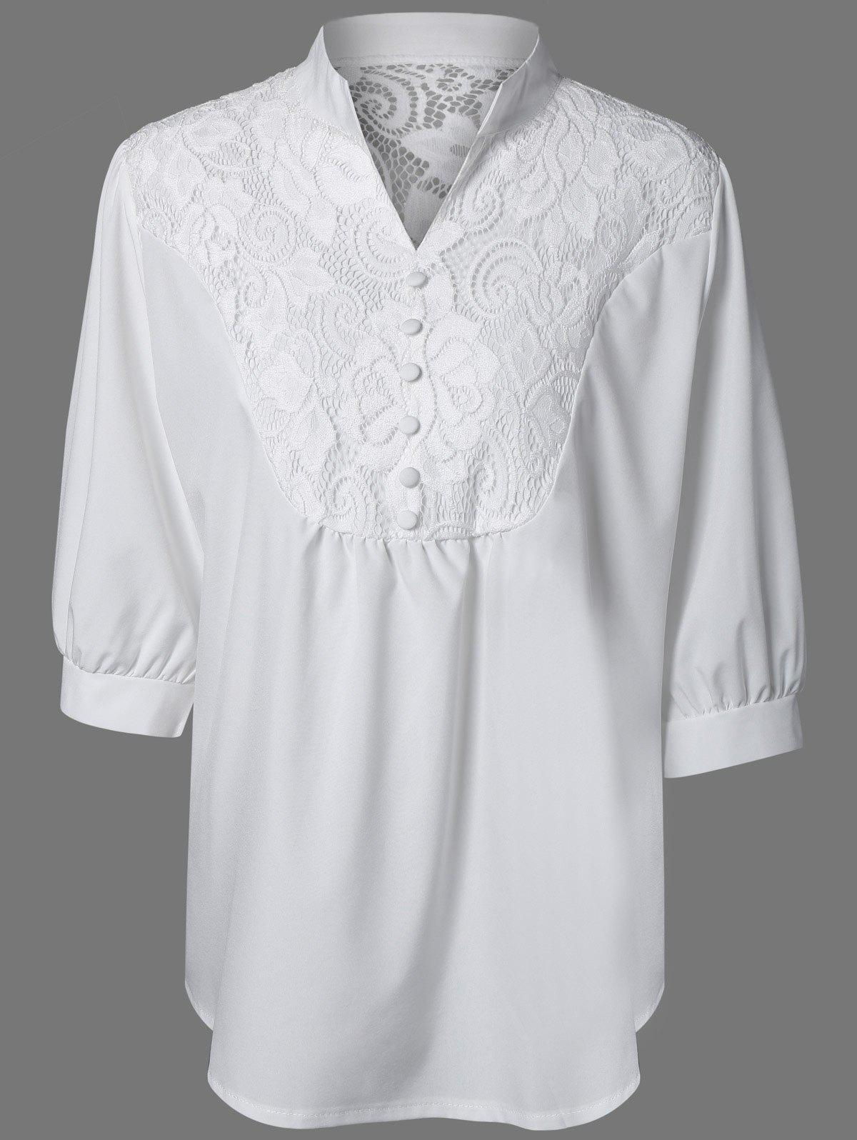 Plus Size Lace Splicing Half Sleeve  Blouse - WHITE 4XL