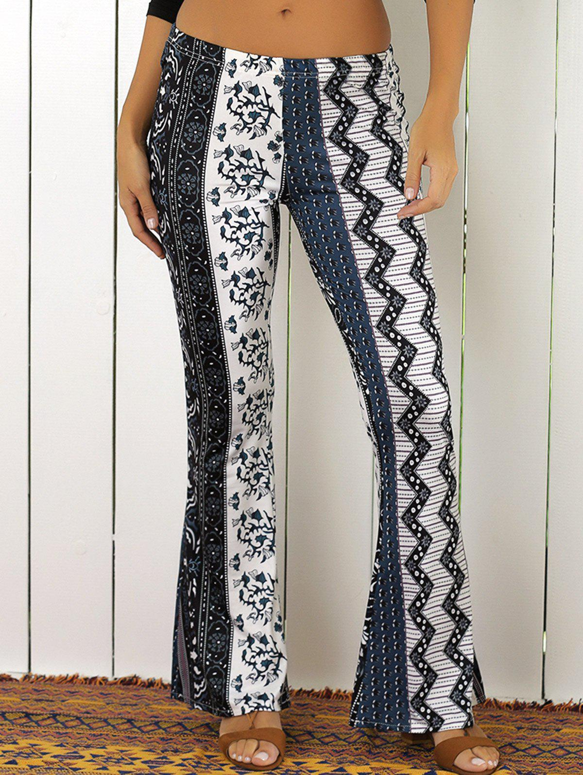 Elastic Waist Tribal Rhombus Print Flare Pants - WHITE/BLACK XL