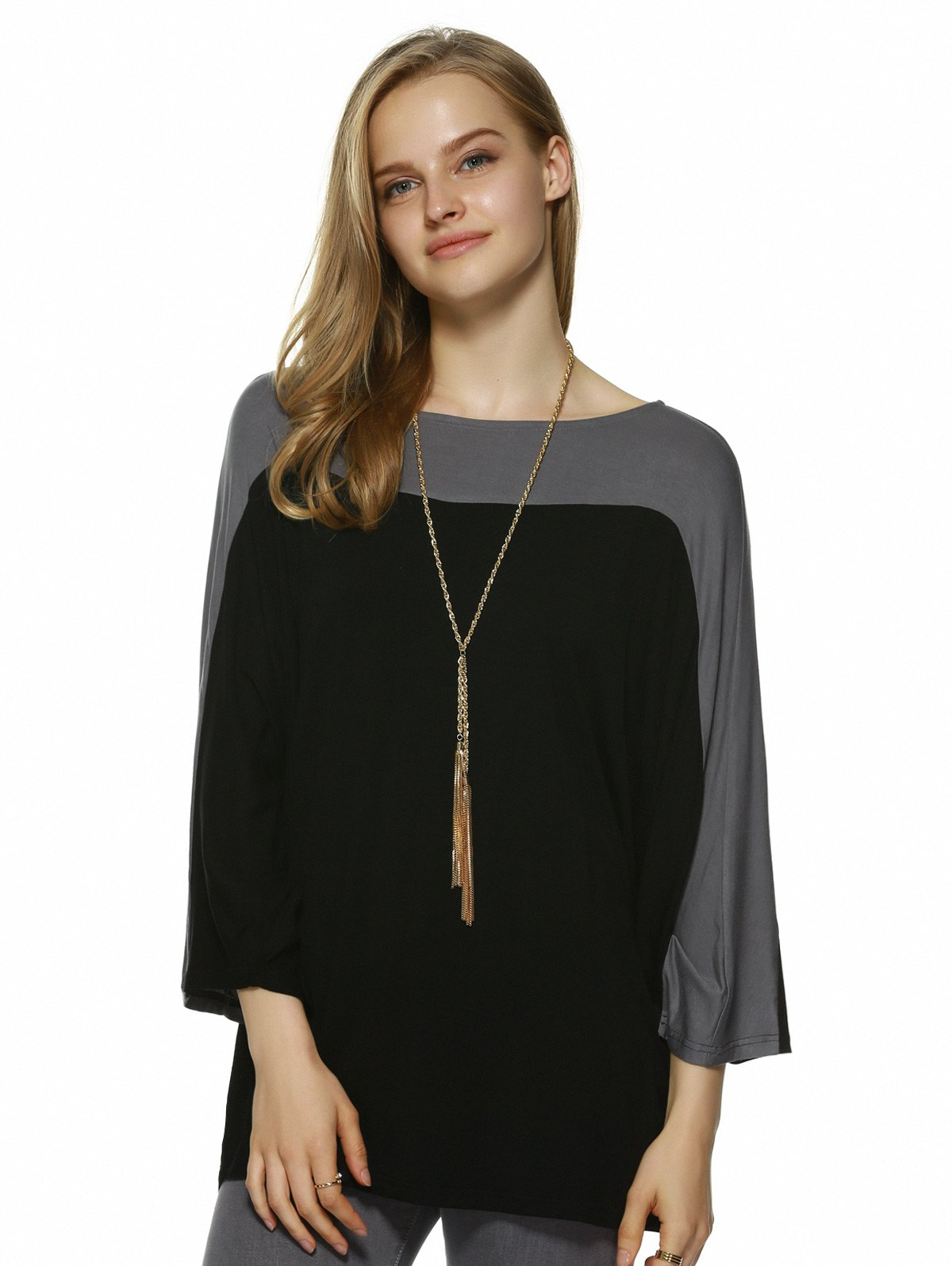 Batwing Sleeve Color Block Blouse - BLACK/GREY XL