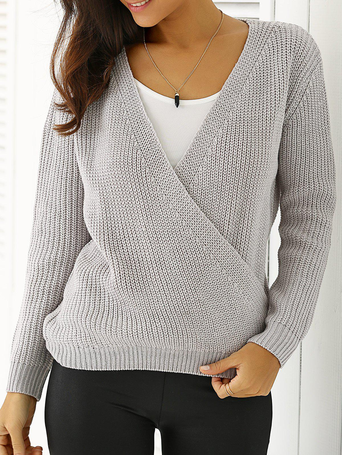 Plunging Neck Loose-Fitting Sweater - GRIEGE ONE SIZE