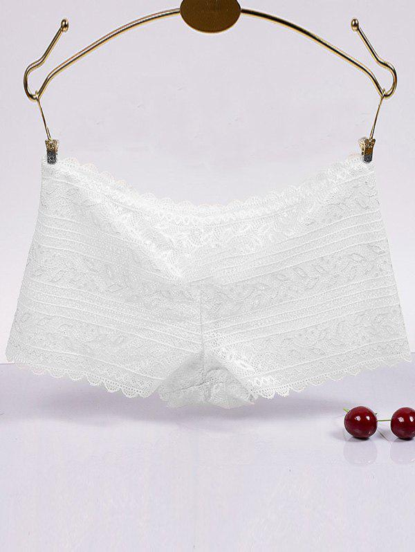 Scalloped Hollow Out Brief Lace Boyleg Briefs - WHITE L