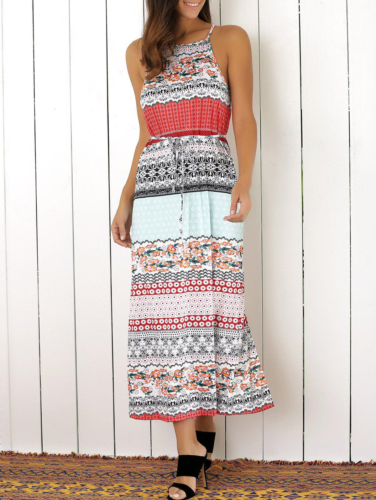 Bohemian Sleeveless Slit Colorful Ethnic Print Dress - COLORMIX L