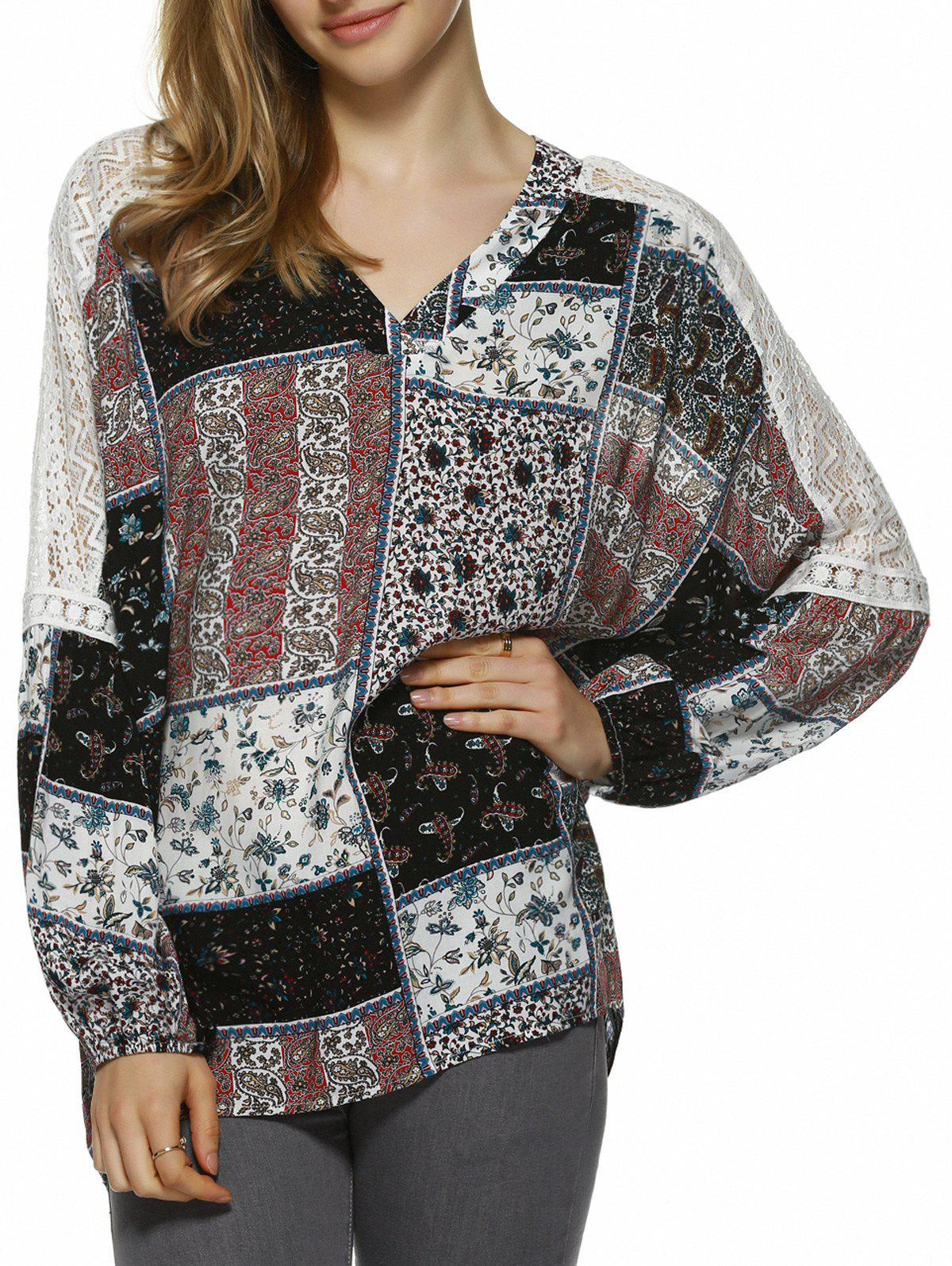 Ethnic Style Lace Splicing Blouse - COLORMIX S