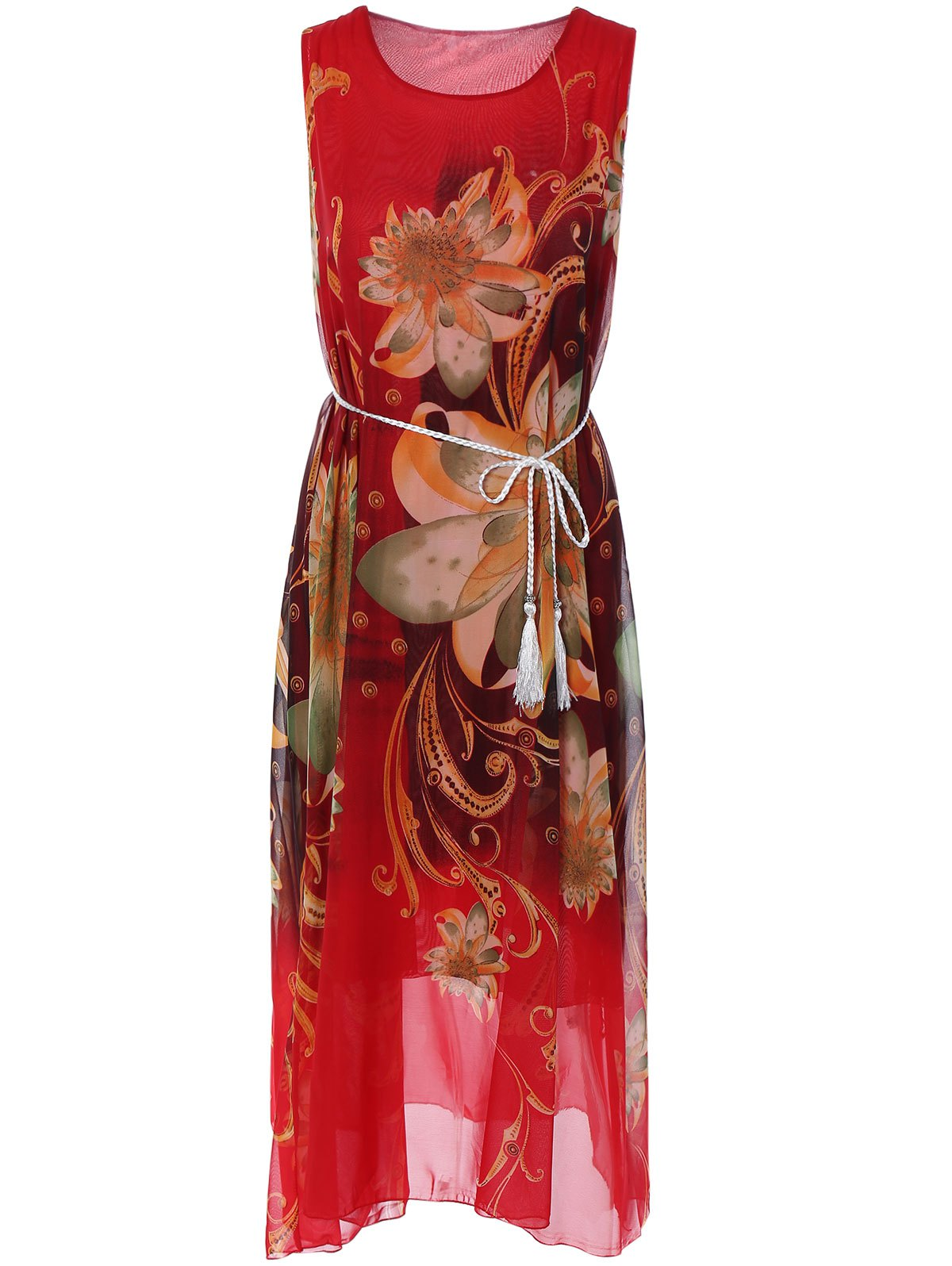 Sleeveless Floral Print Loose Long Dress - RED ONE SIZE