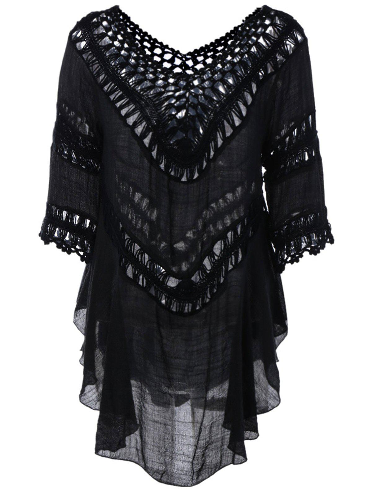 Plunge V Neck See-Through Crochet Tunic Top - BLACK ONE SIZE
