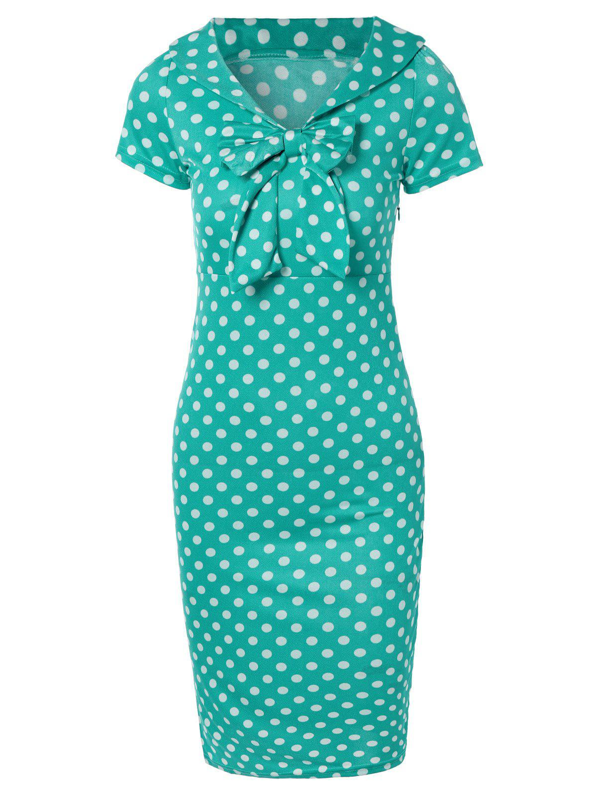 Preppy Bow Polka Dot Bodycon Dress - GREEN 2XL