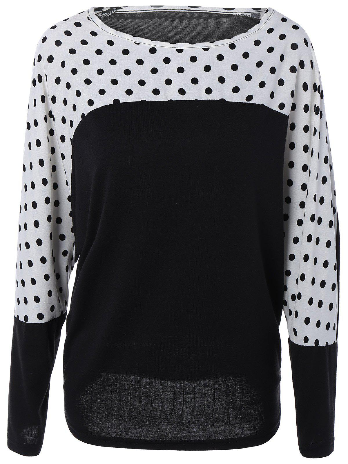 Long Dolman Sleeve Polka Dot Color Block Blouse - WHITE/BLACK XL