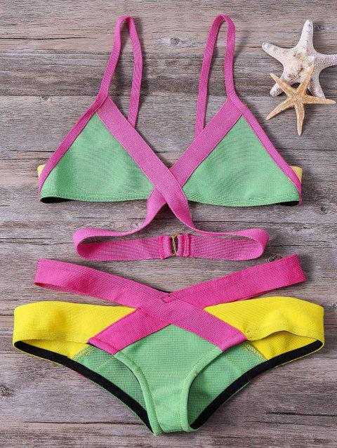 Women's Color Block Spaghetti Straps Design Swimwear - GREEN M