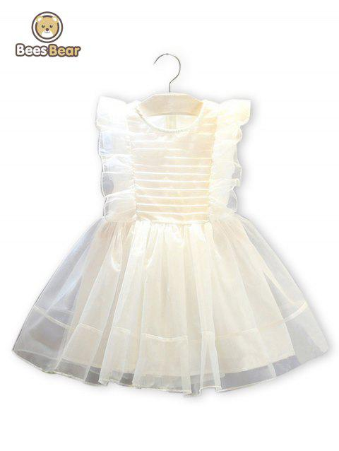 Cute Flounced Solid Color Bowknot Design Dress - WHITE CHILD-4