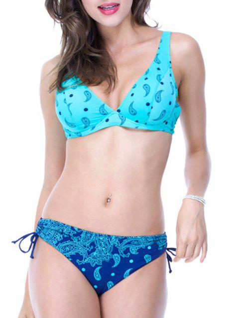 Adjusted Strap Bow Design Printed Bikini Set - BLUE 2XL
