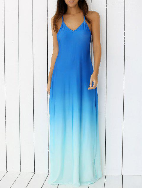 Ombre Backless Slip Trapeze Maxi Dress - BLUE XL