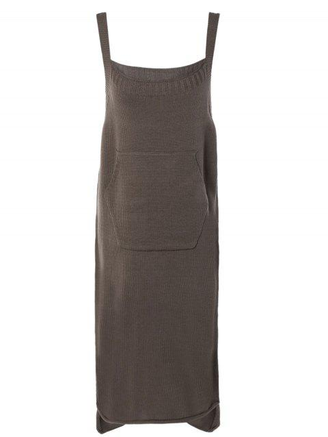 Simple Pure Color High Low Knitted Dress For Women - COFFEE ONE SIZE
