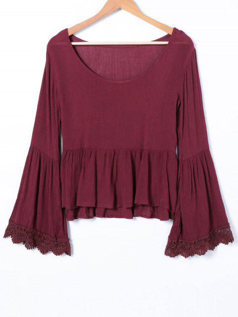 Scoop Neck manches cloche Ruffle Blouse - Rouge vineux ONE SIZE