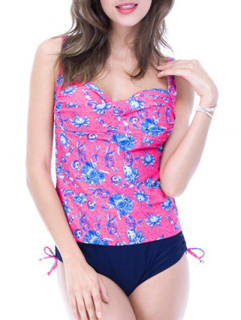 Sweetheart Neck Floral Pattern Strappy Tankini Set - ROSE RED 2XL