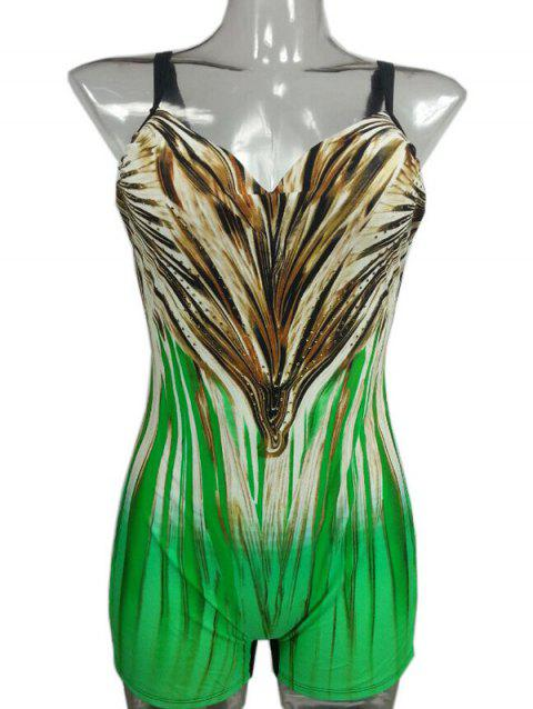Gradient Printed Backless Swimsuit - GREEN 2XL