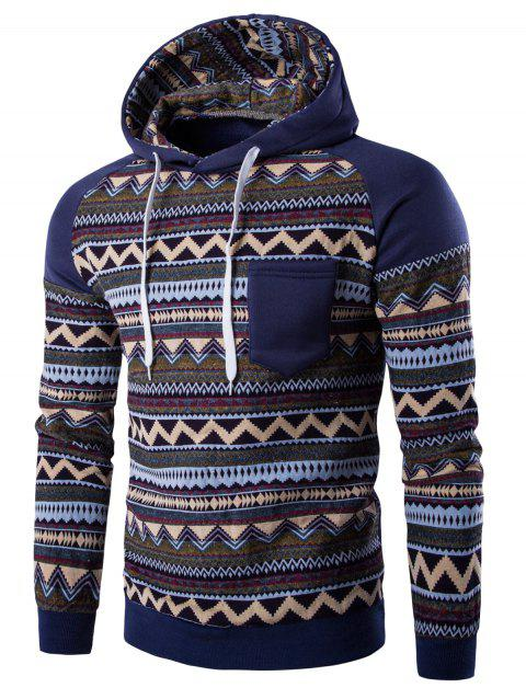 Hooded Pocket Raglan Sleeve Color Block Tribal Printed Hoodie - DENIM BLUE L