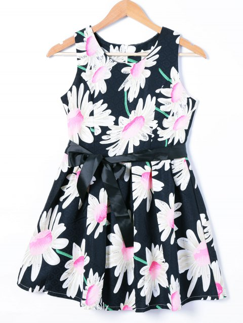 Belted Sleeveless Floral Print Dress - COLORMIX L