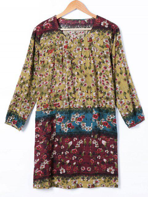 Tribe Print Ethnic Style Shift Dress - COLORMIX ONE SIZE