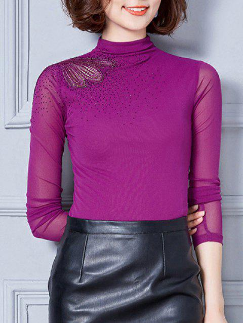 Vintage Turtleneck Long Sleeve Mesh Spliced Embroidered Blouse - PURPLE L
