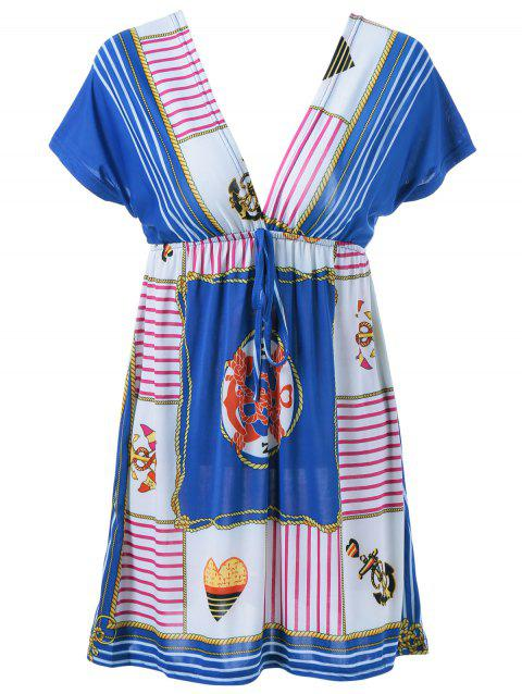 Elastic Waist Plunging Neck Ethnic Style Dress - BLUE ONE SIZE(FIT SIZE XS TO M)