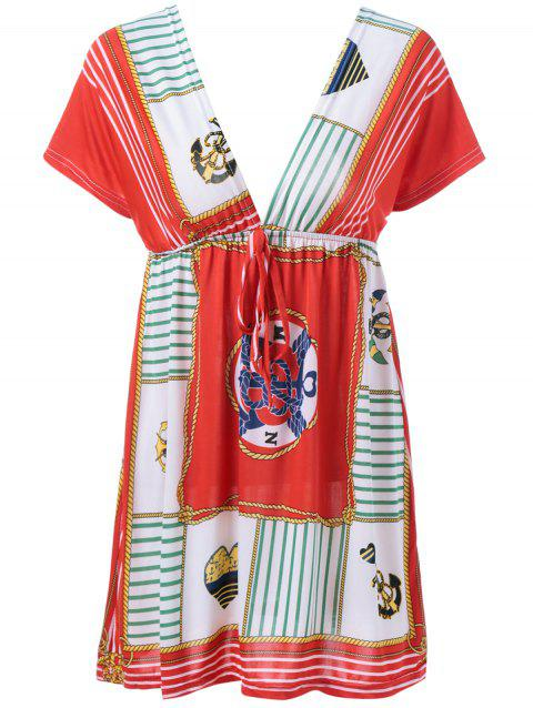 Elastic Waist Plunging Neck Ethnic Style Dress - RED ONE SIZE(FIT SIZE XS TO M)