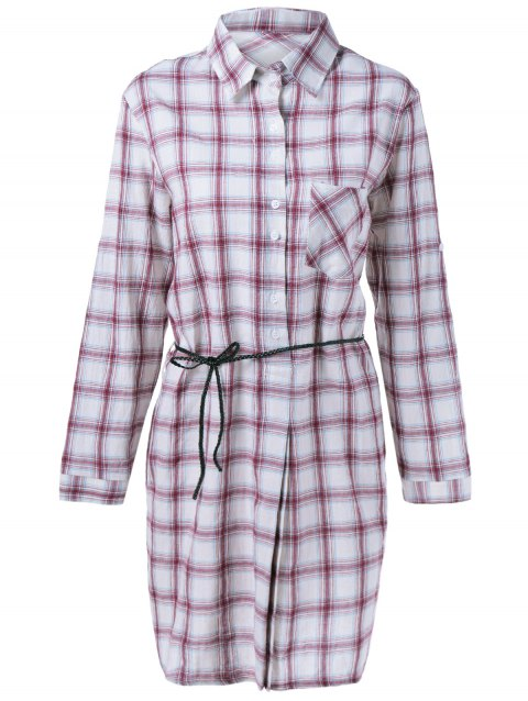 Casual Women's Gingham  Long Sleeves Shirt Dress - WINE RED ONE SIZE(FIT SIZE XS TO M)