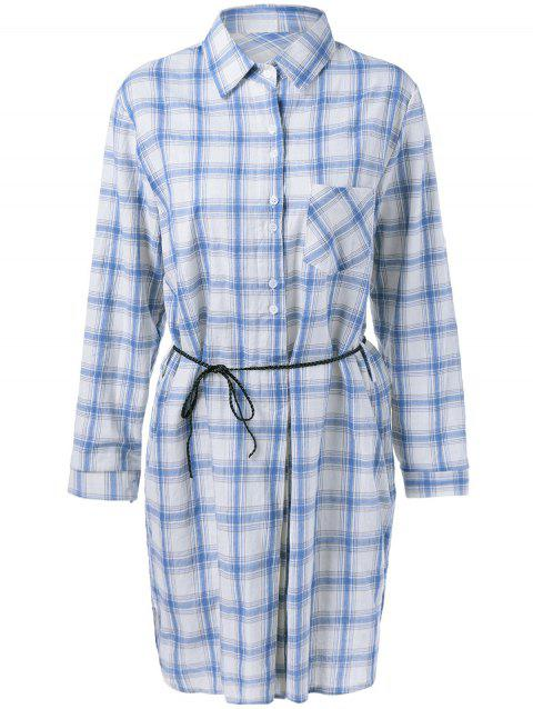 Casual Women's Gingham  Long Sleeves Shirt Dress - MEDIUM BLUE ONE SIZE(FIT SIZE XS TO M)