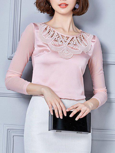 Manches longues maille Spliced ​​Brodé Blouse - Rose M