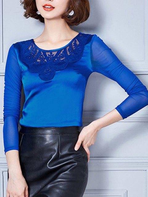Long Sleeve Mesh Spliced Embroidered Beading Blouse - SAPPHIRE BLUE M