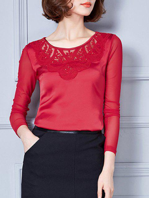 Manches longues maille Spliced ​​Brodé Blouse - Rouge M