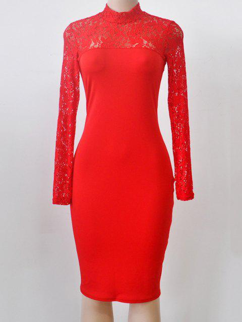 Lace Sleeve Sheath Fitted Tight Dress - RED S