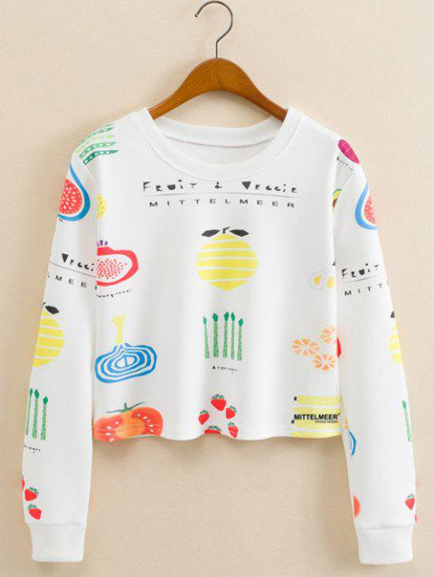 Fruits Figure recadrée long Sleeve Sweatshirt - Blanc L