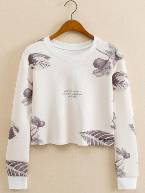 Feuille Figure recadrée long Sleeve Sweatshirt - Blanc L