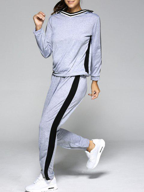 Hooded Contrast Color Spliced Sports Suit - LIGHT GRAY L