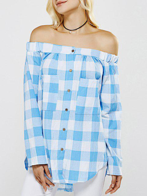 Breast Pockets Off The Shoulder Plaid Curved Hem Blouse - BLUE XL